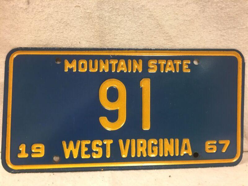 Vintage 1967 West Virginia License Plate (Low Number #91)