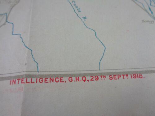 WW1 (1918) British INTELLIGENCE MAP of FRONT LINE (REIMS, VERDUN & SAINT MIHIEL)