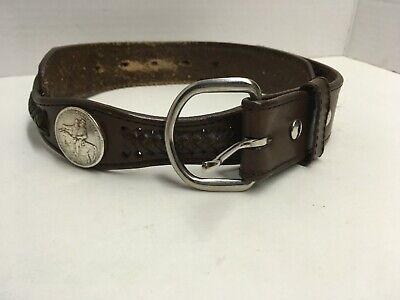 Brown Leather Belt Stone Mountain Coin Concho Western Embossed Woven Size 32
