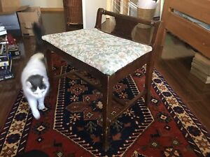Dark wood floral upholstery stool or bench