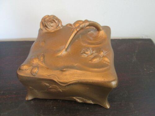 Antique Jennings Bros Art Nouveau Metal Jewelry Casket Box Gold Tone