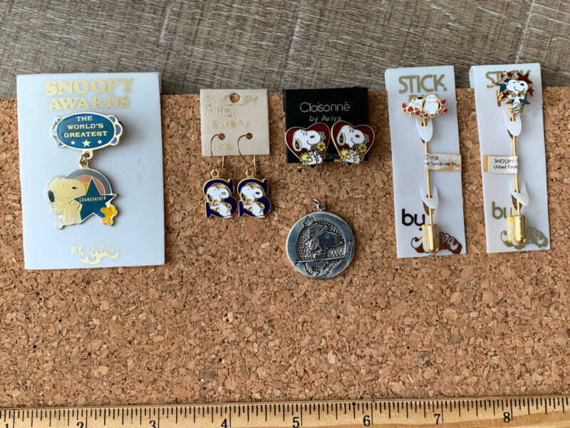 Vintage Snoopy Jewelry, earrings, sterling charm, stick pins, award pin