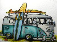 Surfside Motel Seaside Surfing Retro Volkswagen VW Bus Painting CBjork Art PRINT
