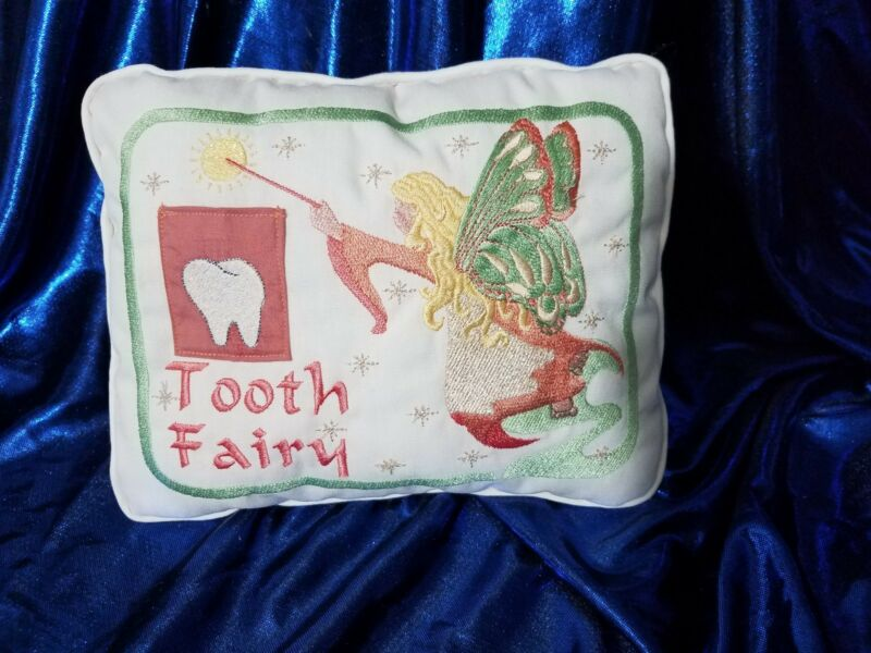 Tooth Fairy Embroidered Pillow