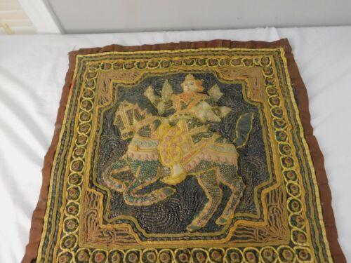 "Vtg Burmese Kalaga Embroidery Tapestry Thai Horse Warrior Glass Beads 18"""