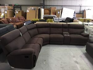 Radley Chocolate Fabric Corner Lounge with Recliners Epping Whittlesea Area Preview
