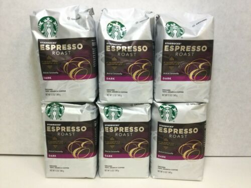 Starbucks Espresso Roast Dark Roast Ground Coffee, 12oz, CASE OF 6