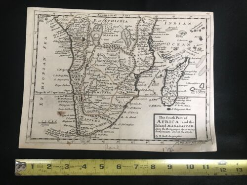 Antique SOUTH AFRICA & MADAGASCAR. Map H. MOLL, 1725.  EXTREMELY RARE.