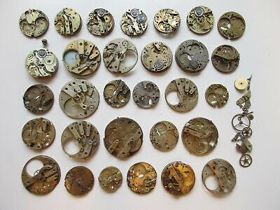 Lot vintage pocket watch movements for parts - diam. 26 mm to 34 mm