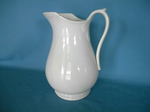 "Large Antique WHITE IRONSTONE 11 1/2"" PITCHER - Unmarked & Mostly Plain Pattern"