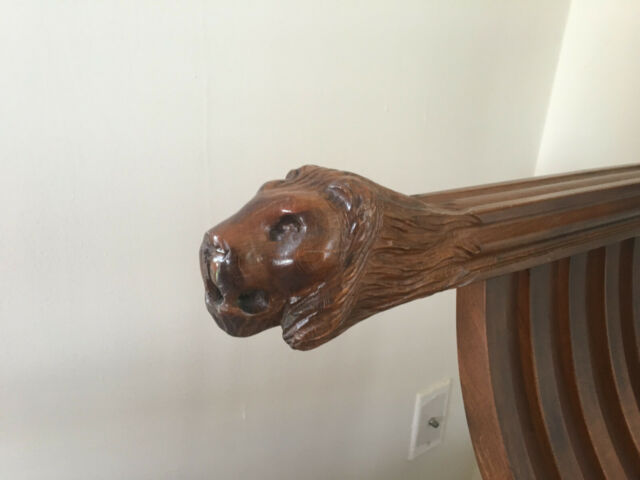 2 Italian Savonarola Chairs with Carved Lion Head Arms Vintage, Pair Antique