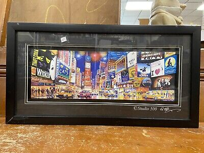 Times Square NY 3D Framed Paper Cut Art Shadowbox Collage Broadway New York City