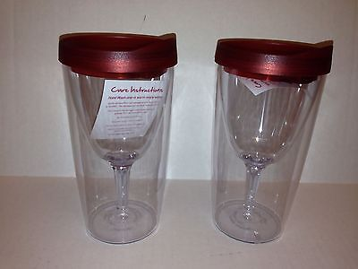 Set of 2 Plastic Insulated Wine Tumblers Drinking Glasses with - Plastic Glasses With Lids