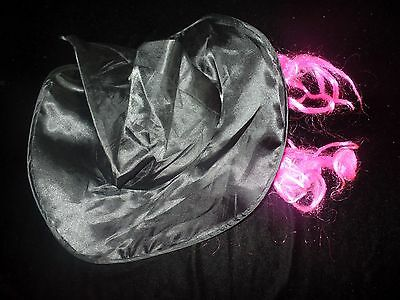Pink Witch Hat (GIRLS WITCH HAT HALLOWEEN COSTUME WEAR BLACK NEON PINK WIG ATTACHED ONE SIZE)