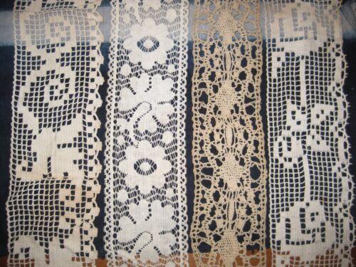 4 Piece Lot, > 7 Yards X-Wide ANTIQUE LACE Crochet VICTORIAN Trim