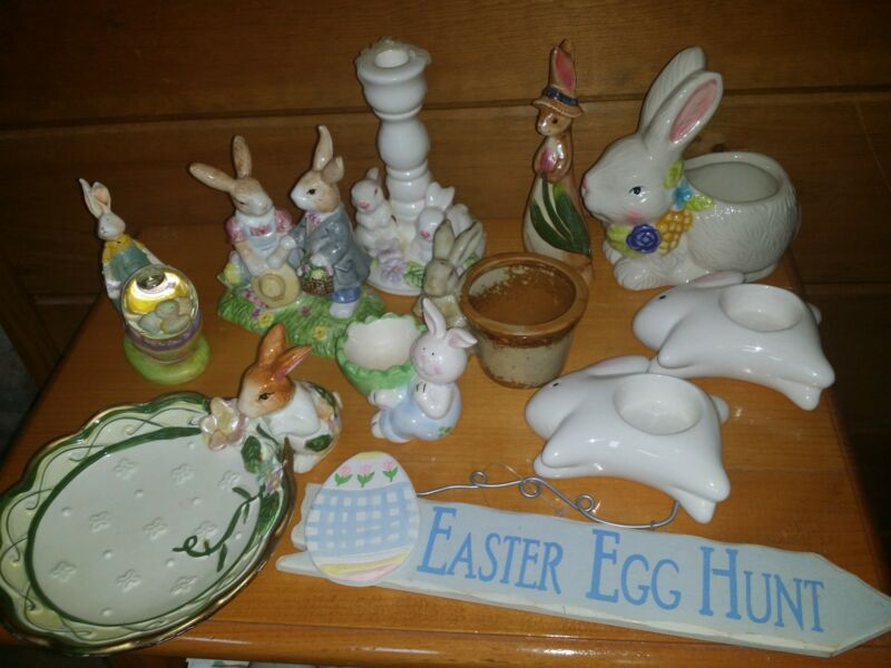 Vintage Lot Ceramic Easter Bunny Figurine Decorations Dish Candle Holders Rabbit