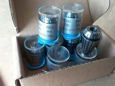 8 pcs ER16 metric collet set, collets 3mm - 10mm, 0.008mm TIR #ER16-SET8M-NEW