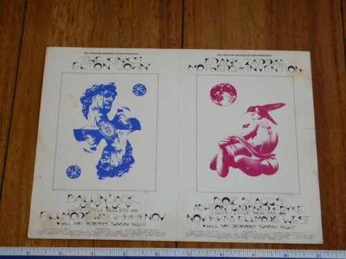 1970 THE KINKS, ELTON JOHN, ZAPPA  FILLMORE DOUBLE POSTCARD BG 255-256, SINGER