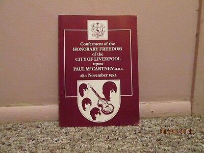 Paul McCartney Honorary Freedom City Liverpool 1984 Program RARE The Beatles