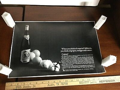 California Black White Advertisement Poster Cotton Textile Industry Grapes Wine