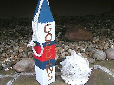 Personalized nautical lobster fishing buoy, HAND carved family name letters