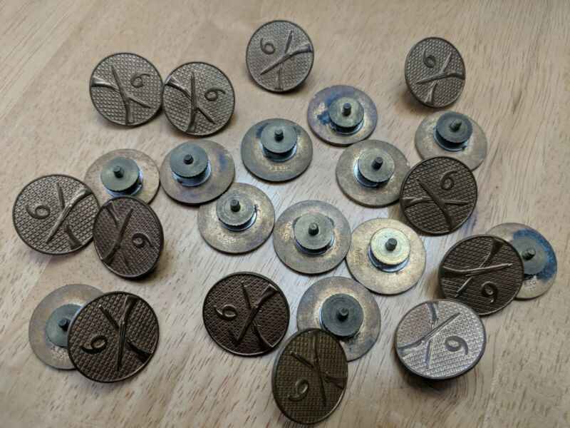 Lot of 24 WWI Era 6th Infantry Regiment Enlisted Collar Discs with screws