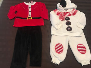 TWO XMAS OUTFIT 6-12M euc