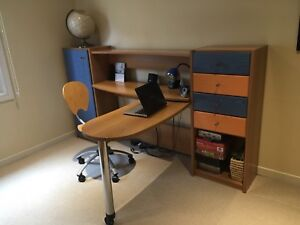 Children's desk chair and shelving units