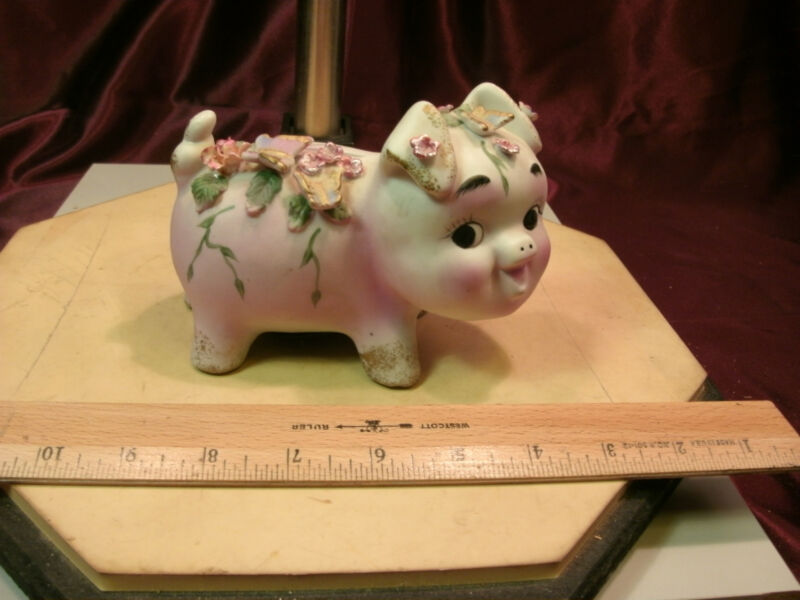 Vtg Norcrest Ceramic Curly tail Piggy bank-Pink flowers & butterflies-free ship