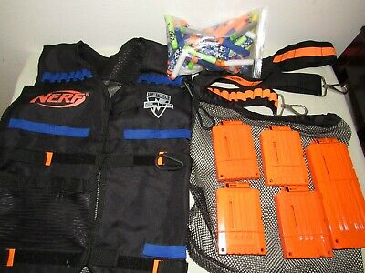 NERF Dart Gun Tactical Gear Vest, Ammo Belt, Magazine Clips, Bag, Darts Lot