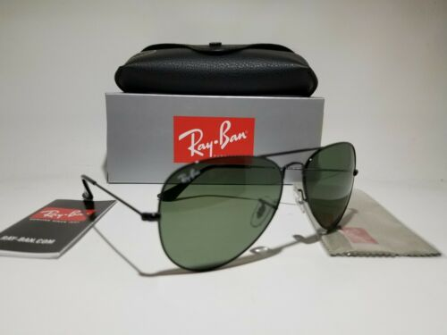 Ray-Ban RB3025 L2823 58 Unisex Aviator Black Metal Green G-15 Lens Sunglasses