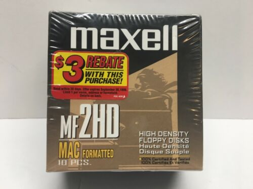 Maxell MF 2HD High Density Floppy Disks 10 pack SEALED Vintage MAC Formatted
