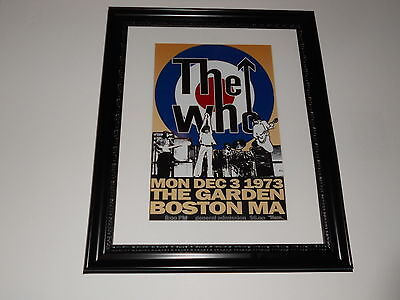 """Large Framed The Who The Garden Boston 1973 Tour Poster, 24"""" by 20"""""""