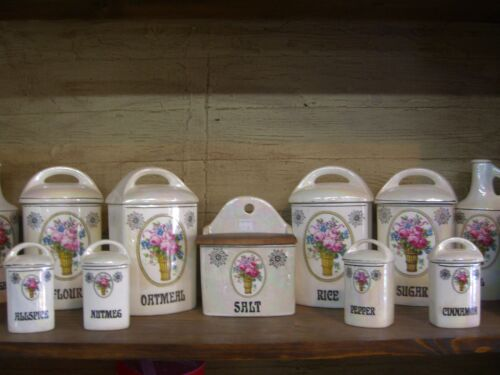 Beautiful Vintage  13 Pc. Lustreware Canister Set W/ Lids - Czech - 1900-1920