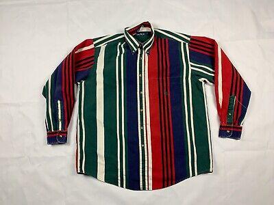 Vintage Nautica 90s Mens Color Block Striped Long Sleeve Button Down Shirt L D27