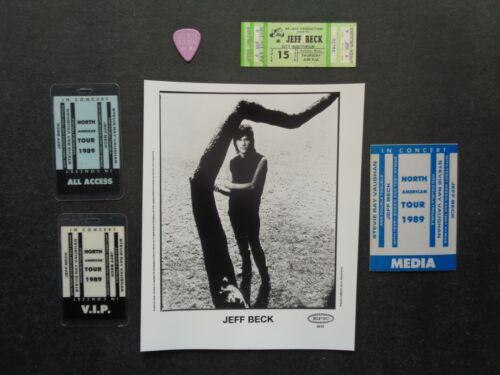 JEFF BECK,B/W promo photo,3 original Backstage passes,1976 Ticket,Guitar pick