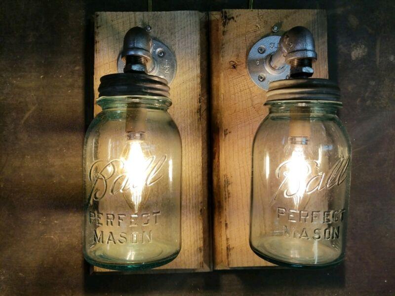 Pipe Retro Industrial farmhouse Wall Lights Mason Jar Fixtures Rustic Barn wood