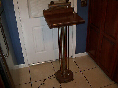 Funeral Stand (Vintage Funeral Art Deco Register Stand Ornate Lighted Lectern Podium Royal Bond )