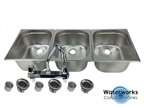 Large 3 Compartment Sink set For Portable Concession Sinks w/Faucet