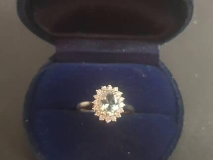 White Gold Aquamarine Diamond Ring Women s Jewellery