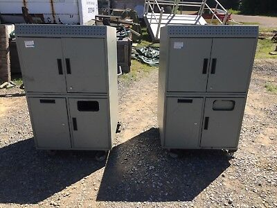 2 Large Mobile Warehouse Steel Military Mechanics Toolbox Tool Cabinets
