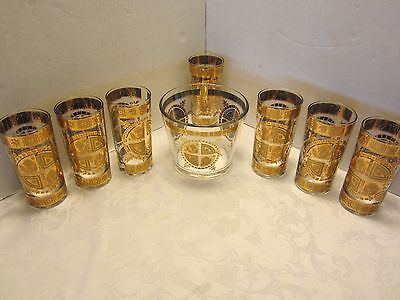 Coronet Culver Glass 8 Pc. Set 22K Gold 7 Tumblers 1 ice bucked Mid century retr