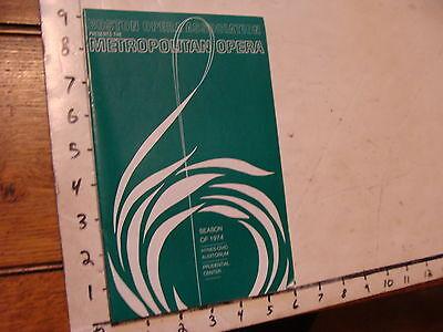Vintage opera: BOSTON presents met Season of 1974: TURANDOT program