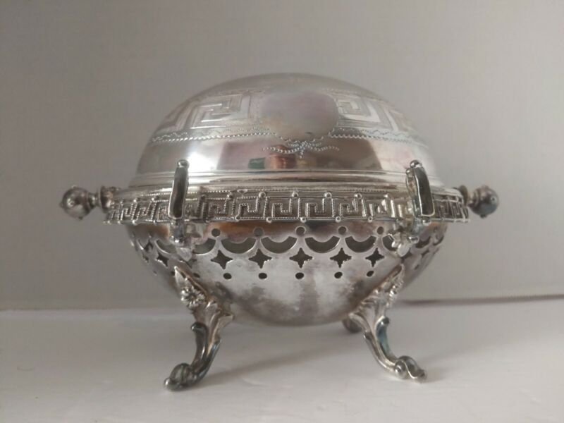 """Antique Ornate Richly Detailed Dome Roll Top Caviar Butter Dish Server 5.5 x 8"""""""