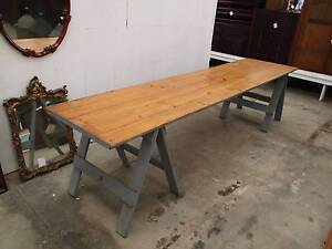 C33068 Terrific 3.14m Vintage Timber Trestle Dining Table CAFE Unley Unley Area Preview