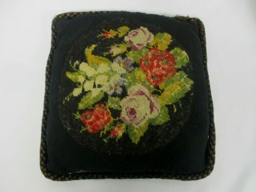 ANTIQUE VICTORIAN HAND MADE BLACK WOOL THROW PILLOW w EMBROIDERED FLOWER 11.5""