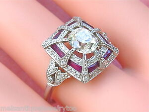 ESTATE-ART-DECO-1-56ct-CENTER-OLD-MINE-CUSHION-DIAMOND-FRENCH-RUBY-PLATINUM-RING
