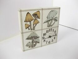 Vintage 1960's MCM Harris & Mallow Verichron Kitchen Wall Clock Square MUSHROOMS