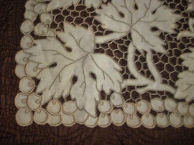 Antique Ecru Linen Runner Madeira Hand Embroidered Cutwork Maple Leaves Overall