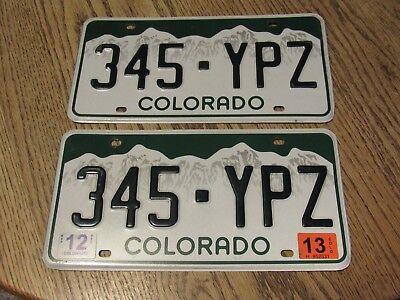 Colorado License Plates, 345-YPZ with 2013 tag